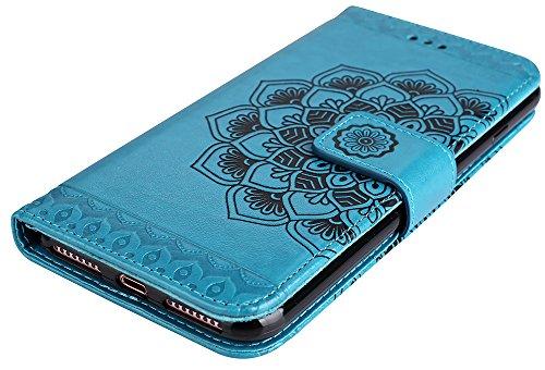 """Iphone 7 Plus Coque silicone, Iphone 7 Plus Accessories, Coque Iphone 7 Plus silicone, Nnopbeclik® Mode Fine Folio Wallet/Portefeuille en Bonne Qualité PU Cuir Housse (5.5 Pouce) """"Datura"""" fleur de Gau bleu"""