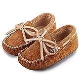 Lauflernschuhe Baby Mädchen Leder Mokassins Jungen Rutschfest Loafers Kinder Sommer Schuhe Weiche Sohle Schleife Braun 23