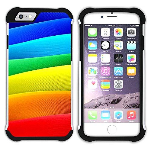 Graphic4You Regenbogen Farben Hart + Weiche Kratzfeste Hülle Case Schale Tasche Schutzhülle für Apple iPhone 6 / 6S Design #2