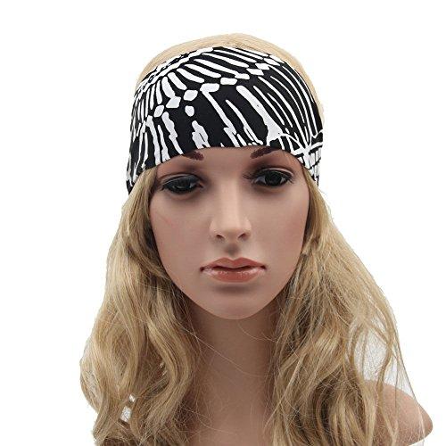 Beautyrain Breit Sport Yoga Stirnband Stretch Haarband Elastic Haar Band Zubehör Bestes Geschenk Boho Turban Fashion Style für Frauen