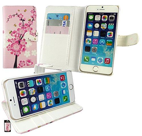 """Emartbuy® Apple Iphone 6s Plus 5.5"""" Zoll Brieftaschen Wallet Etui Hülle Case Cover aus PU Leder Polka Dots Rot Weiß mit Kreditkartenfächern Brieftasche bei Rosa Blossom"""