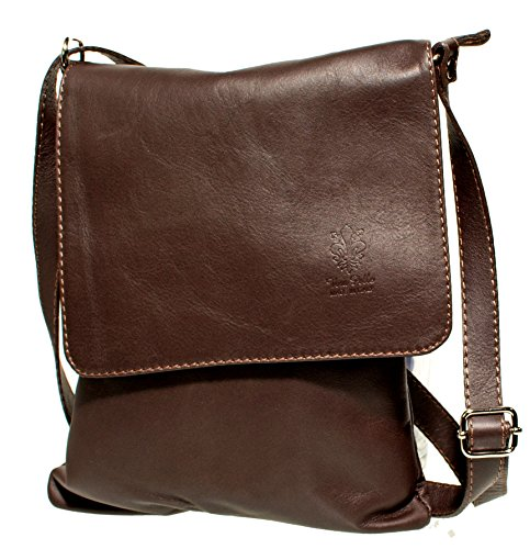 d5d966ced3c91 Echt Leder Umhängetasche Damen Tasche Handtasche Ledertasche Schultertasche  (braun) dunkelbraun