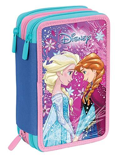 Astuccio 3 zip disney frozen ice magic, rosa, con materiale scolastico: 18 pennarelli e 18 pastelli giotto, penna tratto cancellik ...