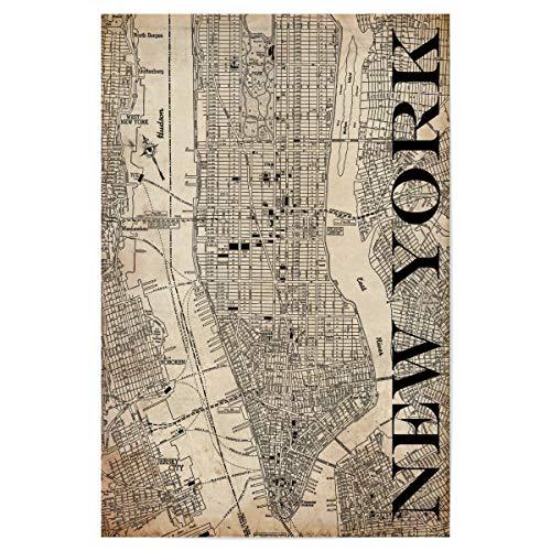 artboxONE Poster 30x20 cm New York NYC Städte/New York Retro Map New York Grunge - Bild Karte map Stadt