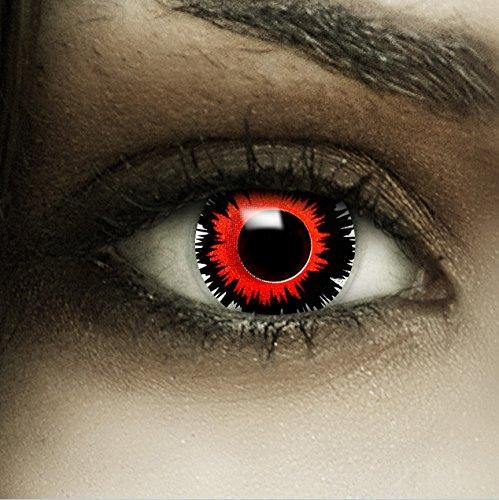 Bewertungen Kostüm Kontaktlinsen - Farbige rot schwarze Kontaktlinsen 'Brain Shock' + Kunstblut Kapseln + Behälter von FXCONTACTS®, weich, ohne Stärke als 2er Pack - perfekt zu Halloween, Karneval, Fasching oder Fasnacht