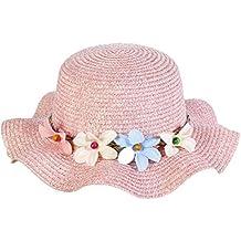 27435b1441835 Leisial Lindo Sombrero para el Sol del Verano Gorra de Playa Paja con Flora  Grande ala