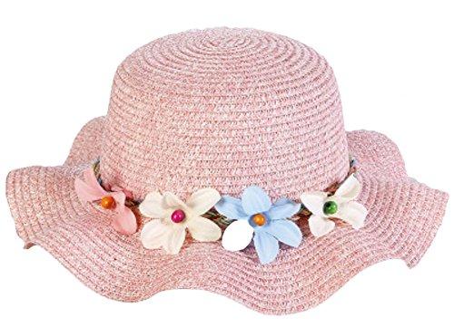 Leisial Kinder Mädchen Sonnenhut Wellenform Hüte Flexible Sommer Hüte Strandhut mit Girlande,Rosa 50-52cm