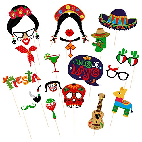 Amosfun Fiesta Photo Booth Requisiten Mayo Cinco Photo Booth Requisiten Mexikanische Party Supplies Mexikanische Karnevalsrequisiten für Hochzeit Geburtstag Party Favors, 20 Stck