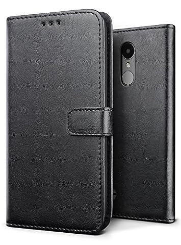 Coque LG K4 2017, SLEO Etui Portefeuille en PU Cuir Rétro Unique Style Ultra Slim Antichoc Magnétique avec Support Slots de cartes Case Cover Housse Etui Coque de Protection pour LG K4 2017 - Noir