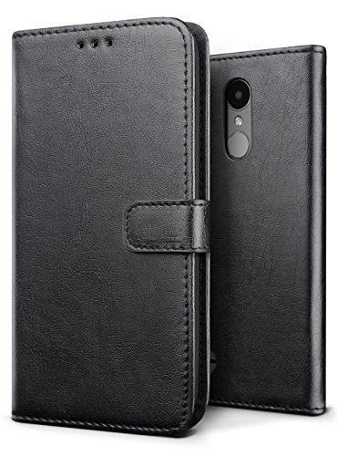 SLEO Coque LG K4 2017, Etui Portefeuille en PU Cuir Rétro Unique Style Ultra Slim Antichoc Magnétique avec Support Slots de Cartes Case Cover Housse Etui Coque de Protection pour LG K4 2017 - Noir