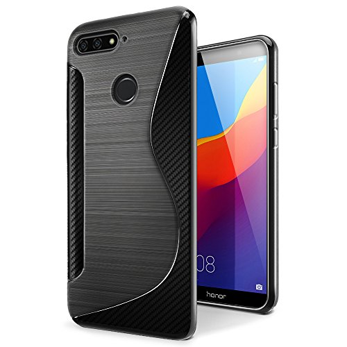 SLEO Huawei Honor 7A Hülle, Silikon Case Hochwertig TPU Gel matt Anti Rutsch Schutzhülle Translucent für Huawei Honor 7A Case - Schwarz