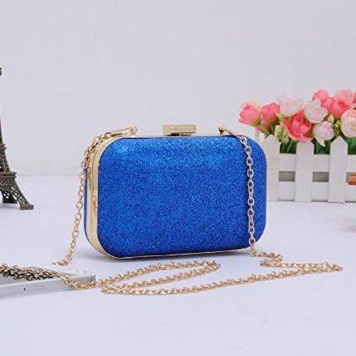 Le Donne Della Borsa Della Frizione Hard Case Lucida Evening Bag Glitter Con Catena Strap Skyblue