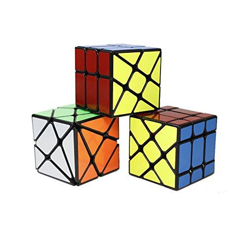 OJIN Yongjun YJ spezifische Geschwindigkeit Cube Puzzle Sets-3er Pack (einschließlich 3X3 Fluktuation Winkel Puzzle Cube, Windmühle Cube 2x3 Form Mod, Fisher Cube 3x3x3 Form Twisty Puzzle)(Schwarz)