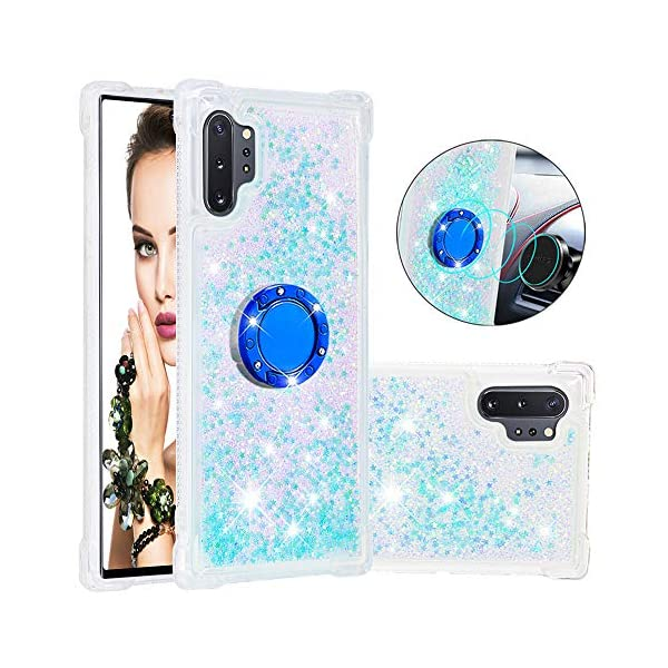 FAWUMAN Liquid Sparkly Quicksand TPU Gel Silicone Shockproof Phone Cover[Diamond Ring] Cases for Samsung Galaxy Note10+ / Note10 Pro / Note10 Pro 5G (Silver light blue stars) FAWUMAN 1.Compatible Model: Samsung Galaxy Note10+ / Note10 Pro / Note10 Pro 5G, glitter liquid case specially for teenage, girls and women. 2.3D Quicksand creative cover, make your mobile phone Shiny Luxury Sparkle Glitter around.the inside quicksand flowing freely, make your mobile phone special and gorgeous, bring more fun to you. 3.Made of hight quality TPU: Scratch resistant and shock absorbent soft TPU covers all four corners offering all around shock absorbent drop protection keeping phone safe from dents, scratches, and other daily wear. 2