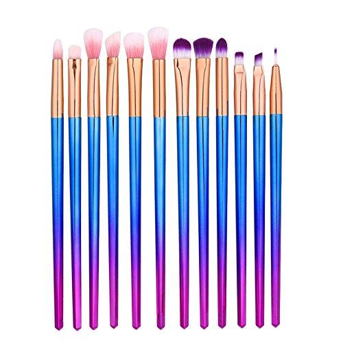 Frcolor Ensemble de brosse à oeil 12pcs Eyeyadow Eyeliner Brosses de maquillage cosmétiques avec poignée Rhombus