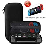 Nintendo Switch Carry Case + Premium Tempered Glass Screen Protector, SHareconn Portable Protective Hard Shell Cover Travel Storage Bag with 10 Game Cartridge for Nintendo Switch Console & Accessories (Black)