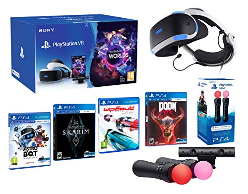 PlayStation VR2 [MegaPack]: Skyrim + Doom + WipEout + Astro Bot + VR Worlds + 2 Mandos Twin Move Controllers