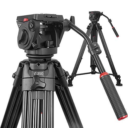 NEU: Kingjoy Videostativ Filmstativ Kit VT-35 inkl. VT-3530 Fluidneiger und VT-3500 Schwerlast-Video-Dreibeinstativ, Höhe 196,5cm, Packmaß 96 cm, Tragkraft 22kg, Gewicht 5,8kg (Heavy-duty-video-stativ)