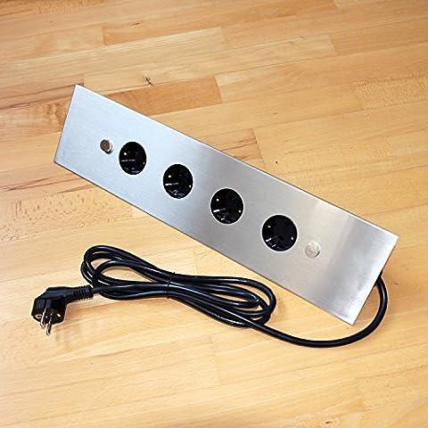 Multiprise d'angle pour cuisine et table en acier inoxydable et plastique avec quatre prises 230V/ports