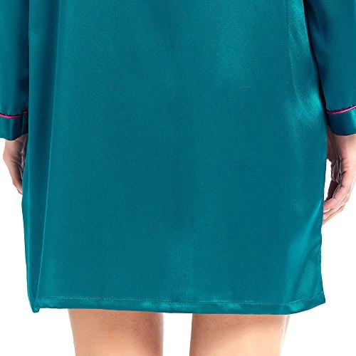 LILYSILK Seide Nachthemd Nachtkleid Langarm Nachtwäsche Damen Kurz mit Knopfleise 22 Momme Türkis