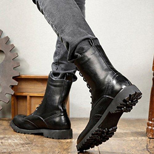 QVRGE Hommes Martin Bottes Printemps Et Automne Outillage Chaussures Souliers Black