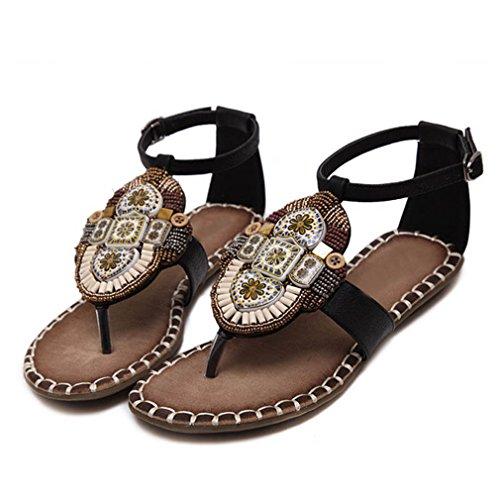 Fluores sandali con sandali alla moda per le donne sandalo estivo sandali con infradito donna scarpe etniche totem scarpe da spiaggia floreali donna zapatos mujer black 6.5