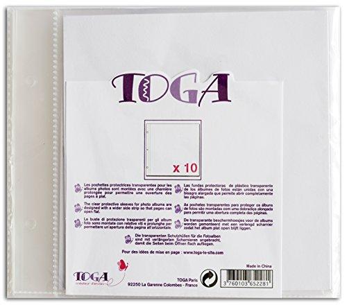 Toga al11e–Juego de 10Fundas para álbum de Recortes plástico Transparente 20x 20x 0,5cm