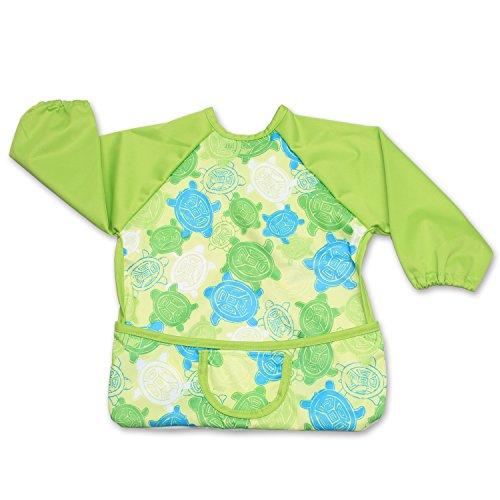 Lange Sleeved Bib (Luxja Wasserdicht Baby lätzchen, lange ärmel lätzchen für kleinkinder beim Essen und Spielen Smock Schürze für Kleinkinder (6-24 monate), Grüne Schildkröte)