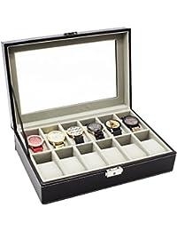 HBF Uhrenbox Uhrenkasten oder Uhrenkoffer PU-Leder fein schneidern für 6 bis 24 Uhren (12 Uhren)