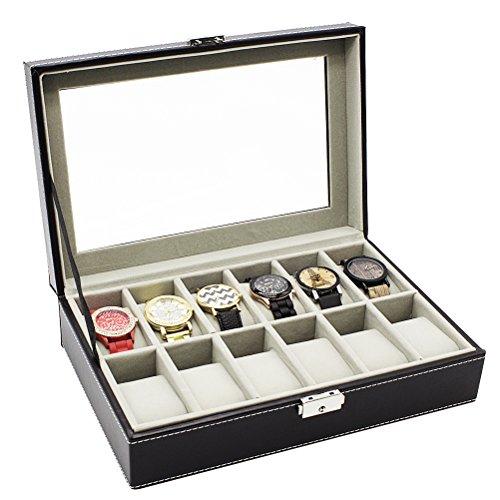 HBF Uhrenbox Uhrenkasten oder Uhrenkoffer PU-Leder fein schneidern für 6 bis 24 Uhren (12 Uhren) (Uhrenbox)
