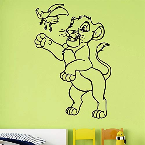 yaoxingfu Simba Vinyl Sticker   Wall Sticker Decorazioni di Arte del Fumetto Home Kids Baby Boys Girls Room Nursery Playroom Decor Rosso 87x129cm