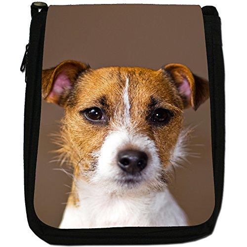 Jack Russell Terrier-Borsa a tracolla in tela, colore: nero, taglia: M Nero (Portrait Jack Russell Terrier)