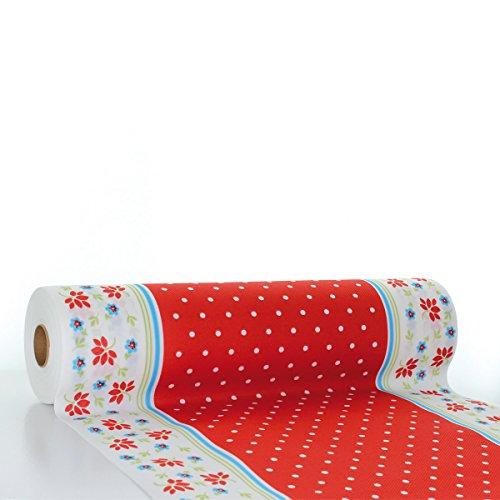 �ufer Lea | Linclass® Airlaid Tischläufer 40cm x 24m | Tischdecken-Rolle stoffähnlich | Einmal-Tischdecke für Feierlichkeiten | Rot ()