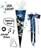 Unbekannt Sound Modul & LED Licht Effekt ! - Schultüte -  Weltraum - Space  - 85 cm / 6 eckig - incl. große Schleife - Tüllabschluß - Zuckertüte - mit / ohne Kunststo..