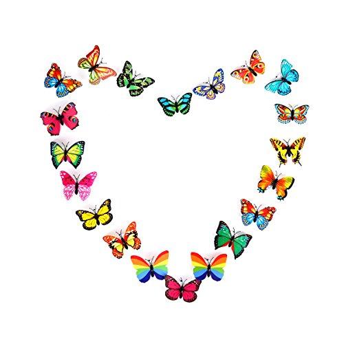 PANNIUZHE 12 Creative luce lampeggiante LED, misura piccola, motivo: farfalla colorata, con luce notturna Stickers-Adesivi da parete, luce notturna a LED, colori assortiti - Piccolo Farfalla Della Decorazione Della Parete