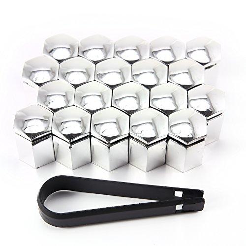 Hamimelon 20 x 17mm Kappen-Set Radschrauben Radmuttern Schrauben Abdeckungen Chrom Kappen Radschrauben + Demontagezange