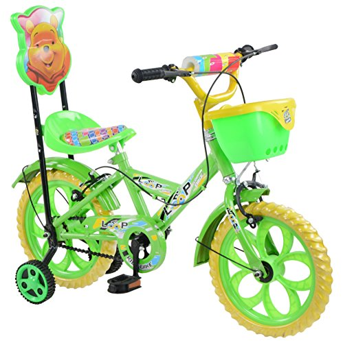 Loop Cycles Master Blaster Y Frame 14 Inches Bicycle For Kids 3 to 5 Years Unisex With Side Wheels & Basket (Parrot Green)