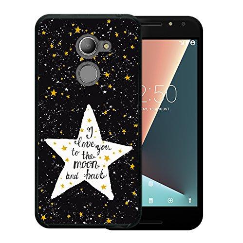 WoowCase Vodafone Smart N8 Hülle, Handyhülle Silikon für [ Vodafone Smart N8 ] Star Satz - I Love You to The Moon and Back Handytasche Handy Cover Case Schutzhülle Flexible TPU - Schwarz