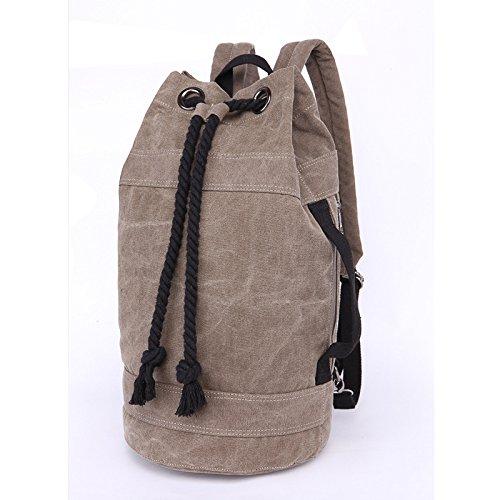 &ZHOU Borsa di tela, Borsa a tracolla tela cilindrico zaino grande capacità secchio borsa casual zaino bags, unisex , blue army gray