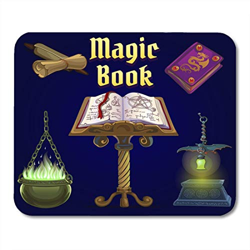 Deglogse Gaming-Mauspad-Matte, The of Objects for Witchcraft and Spiritualistic Seances on Purple Holiday Evil Spirit Halloween Cartoon Mouse Pad