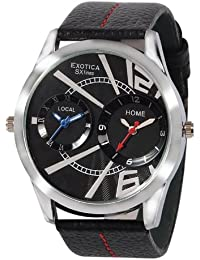 Exotica Black Dial Analogue Watch for Men (EF-85-Dual-Black)