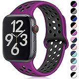 Hamile Kompatibel für Apple Watch Armband 42mm 44mm,Dual Farbe Weiches Silikon Atmungsaktiv Sportarmband für Apple Watch Series 5 Series 4 Series 3 Series 2 Series 1, S/M Fuchsie/Schwarz