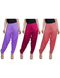 Super Stretch Viscose Spandex Patiala Combo Of 3 (Lavender, Majenta, Rose, XL (Waist - 34; Length - 39))