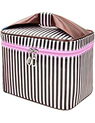 HOYOFO Toiletry Cosmetic Storage Beauty Case Makeup Bag with Sweet Bow Handle,Coffee Stripe