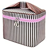 HOYOFO Toiletry Cosmetic Storage Large Travel Makeup Bag with Sweet Bow Handle,Coffee Stripe