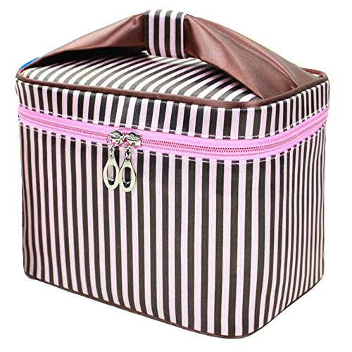 HOYOFO New Portable Large Waterproof Cartoon Cosmetic Bag with Mirror Coffee (Stripes Pouch)