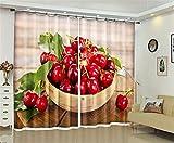 Liya Frische rote Frucht 3D Blackout Fenster Vorhänge für Wohnzimmer Bettwäsche Zimmer Hotel/Büro Vorhänge - 2 Panels Set, 104 * 95 inch