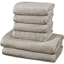 AmazonBasics - Set di asciugamani ad asciugatura rapida, 2 pezzi, 2 teli bagno + 4 asciugamani - Platino