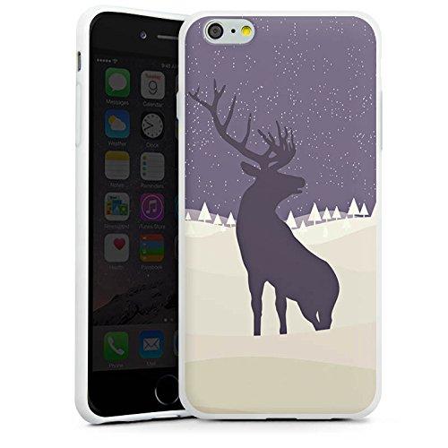 Apple iPhone X Silikon Hülle Case Schutzhülle Hirsch Schnee Winter Silikon Case weiß