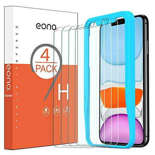 Eono Essentials Verre Trempé Compatible avec iPhone 11/ iPhone XR Film Protection Ecran avec Outil d'Installation Solide Anti Rayures et Choc sans Bulles d'air [6.1 Pouces, Lot de 4]